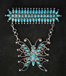 UNIQUE PETIT POINT TURQUOISE ZUNI BUTTERFLY PIN