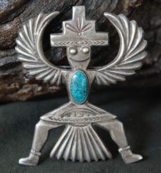 HORACE IULE KNIFEWING LONE MT. TURQUOISE PIN