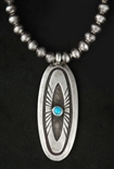 JOE H. QUINTANA TURQUOISE PENDANT WITH BEADS