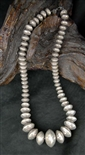 LEO YAZZIE SILVER PEARL BEAD NECKLACE