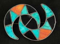 LOVELY VINTAGE ZUNI INLAID PIN