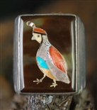 RARE ELLIOT QUALO INLAID QUAIL RING