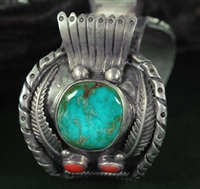 LARGE MEN'S BISBEE TURQUOISE CUFF WATCH BRACELET