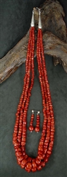 LARGE KEWA RED MEDITERRANEAN CORAL NECKLACE & EARRINGS