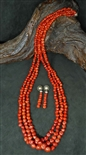KEWA RED MEDITERRANEAN CORAL NECKLACE & EARRINGS
