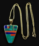 SONWAI MOSAIC INLAY GOLD PENDANT