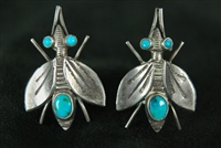 FRED PESHLAKAI UNIQUE HORSEFLY EARRINGS