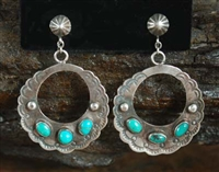 LOVELY 1940's FLAT HOOP AND TURQUOISE EARRINGS