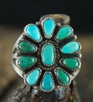 1940's BLUE GEM TURQUOISE ZUNI CLUSTER RING