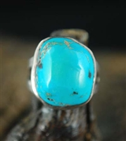 BEAUTIFUL 1930's HIGH DOME BLUE GEM TURQUOISE RING