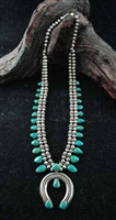 BEAUTIFUL BLUE GEM TURQUOISE SQUASH STYLE NECKLACE
