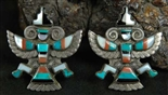 BEAUTIFUL ZUNI KNIFEWING INLAID EARRINGS
