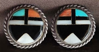 EARLY ZUNI MOSAIC INLAID EARRINGS