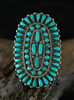 1950's BLUE GEM TURQUOISE ZUNI CLUSTER RING