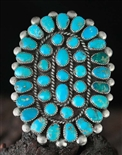 1950's MORENCI TURQUOISE ZUNI CLUSTER RING