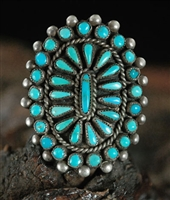 1940's C.G. WALLACE ZUNI CLUSTER RING