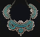 EARLY WARREN ONDELACY TURQUOISE CLUSTER COLLAR