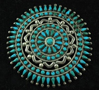 BLUE GEM TURQUOISE CLUSTER PIN