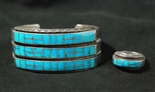 BEAUTIFUL ZUNI TURQUOISE BRACELET AND RING