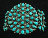 TRADITIONAL CLUSTER TURQUOISE CUFF BRACELET