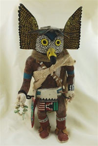 This Mongwu Kachina was carved and signed by world renowned Hopi carver Jimmy Kewanwytewa.