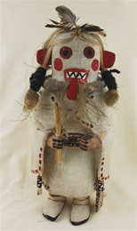 "This Yohozro Wuhti Kachina was carved and signed by world-renowned Hopi carver Jimmy Kewanwytewa. She measures 11"" tall by 4 1/2"" wide. She is in excellent condition, with no cracks or broken parts."
