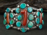 LOVELY DAN SIMPLICIO CORAL AND TURQUOISE BRACELET