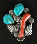 LOVELY DAN SIMPLICIO CORAL AND TURQUOISE PIN/PENDANT