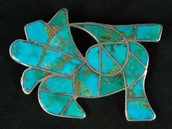 BEAUTIFUL ZUNI INLAID ABSTRACT BIRD PIN