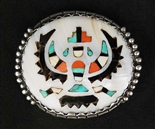 LOVELY ZUNI INLAID C.G. WALLACE KNIFEWING PIN