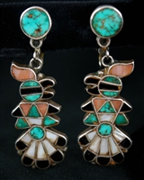 BEAUTIFUL ZUNI THUNDERBIRD INLAID EARRINGS