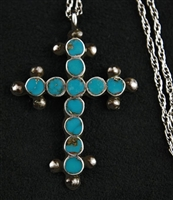 FRANK DISHTA TURQUOISE AND SILVER CROSS
