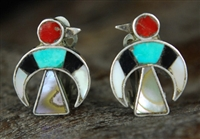 TINY ZUNI INLAID CLIP-ON EARRINGS