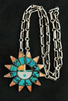 BEAUTIFUL ZUNI SUNFACE PENDANT