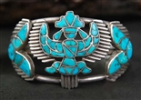 LEEKYA FAMILY TURQUOISE INLAID KNIFEWING BRACELET