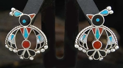LOVELY ZUNI THUNDERBIRD INLAID EARRINGS