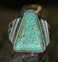 LOVELY NAVAJO WEBBED #8 TURQUOISE RING