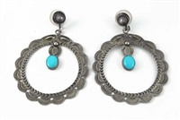 LOVELY NAVAJO STAMPED HOOP EARRINGS