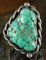 JERRY ROAN LARGE CARICO LAKE TURQUOISE RING