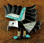 V. NOCHE ZUNI INLAID EAGLE PIN/PENDANT