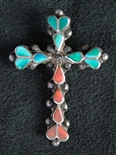 DISHTA FAMILY TURQUOISE AND CORAL CROSS PENDANT