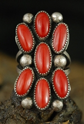 BEAUTIFUL NAVAJO CORAL CLUSTER RING