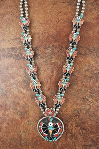 ADALINE YAWAKIA ZUNI THUNDERBIRD INLAID NECKLACE 5pc. SET