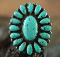 "NATURAL KINGMAN TURQUOISE ZUNI CLUSTER RING<SPAN style=""COLOR: #ff0000; FONT-WEIGHT: bold"">*SOLD*</SPAN></SPAN>"