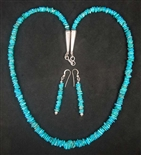 NATURAL MORENCI TURQUOISE NECKLACE AND EARRING