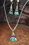 JAMES LEE INLAID PENDANT  WITH EARRINGS