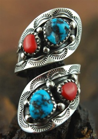 "ORVILLE TSINNIE MORENCI TURQUOISE AND CORAL RING<SPAN style=""COLOR: #ff0000; FONT-WEIGHT: bold"">*SOLD*</SPAN></SPAN>"