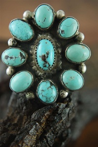 "LARGE PERSIAN TURQUOISE CLUSTER RING<SPAN style=""COLOR: #ff0000; FONT-WEIGHT: bold"">*SOLD*</SPAN></SPAN>"