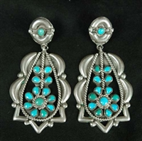 BEAUTIFUL ZUNI REPOUSSE DANGLE EARRINGS