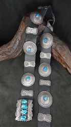 BEAUTIFUL JUAN MARTINEZ ZUNI CONCHO BELT